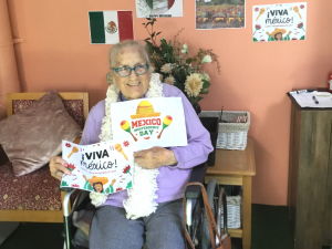 Old lady with mexico merchandise from travel